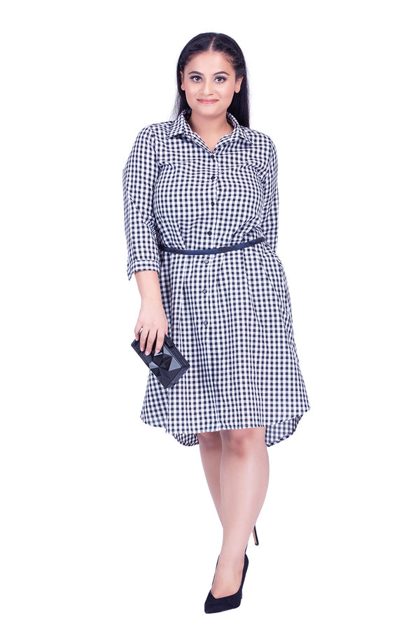 High-Low Gingham Print Dress by Afamado