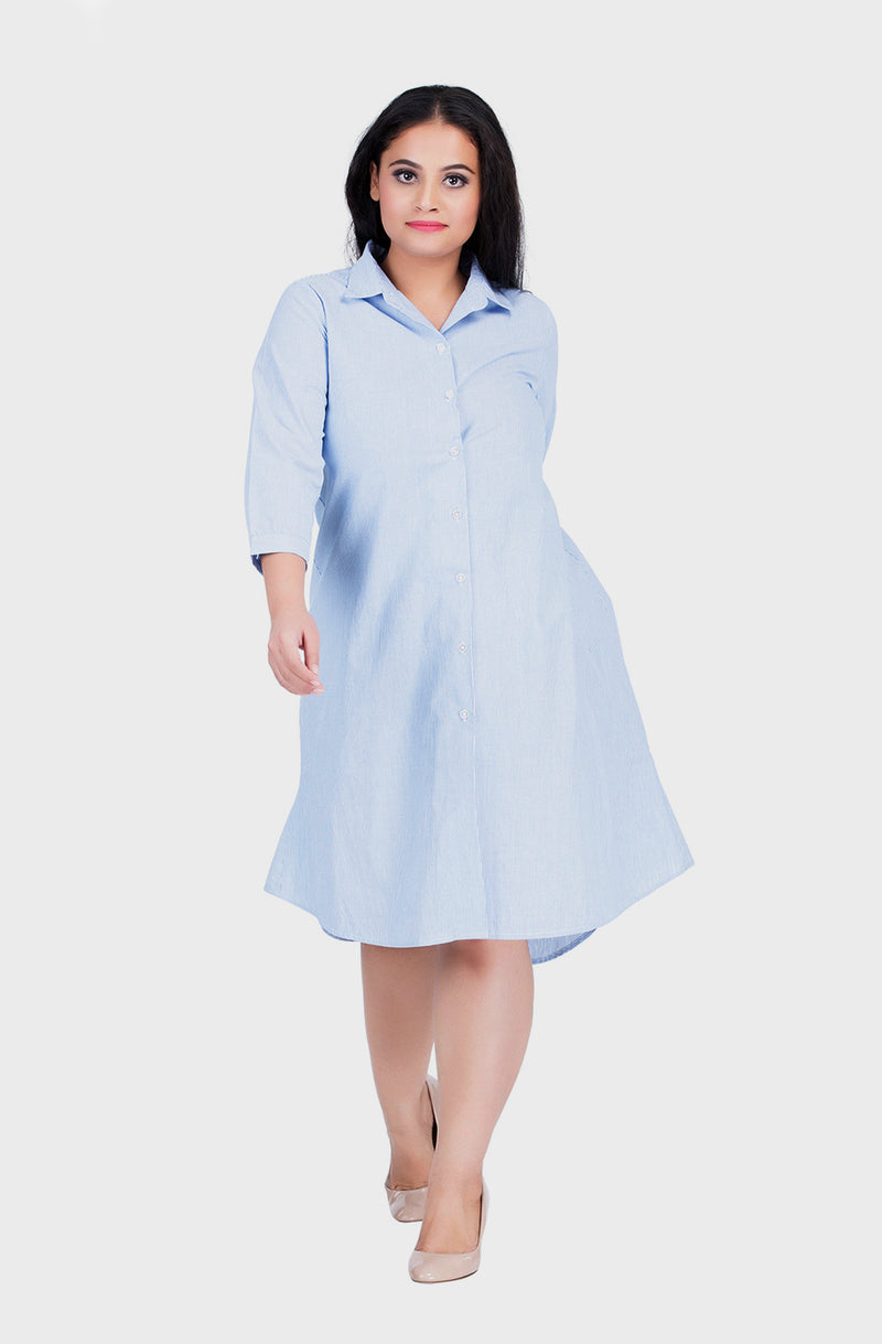 Pastel Blue High-Low Shirt Dress