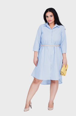 Pastel Blue High-Low Shirt Dress by Afamado