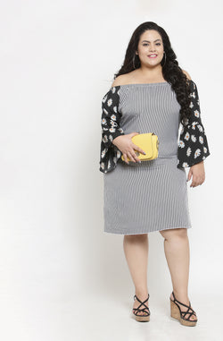 Off-Shoulder Fit and Flare Dress by Afamado