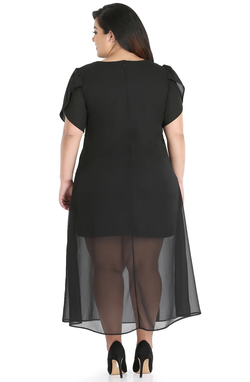 Leather Patched Sheer Overlay Dress