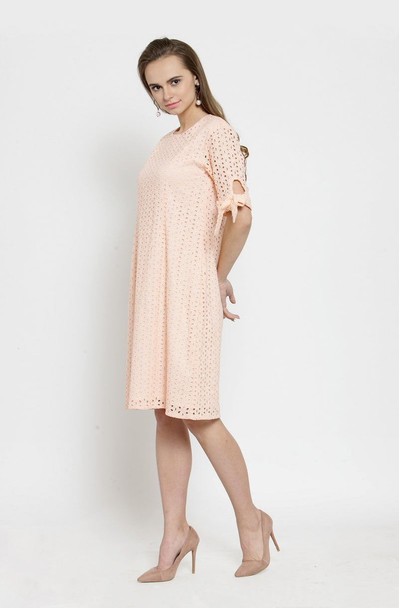 Faded  Schiffly Tie-Sleeve Dress