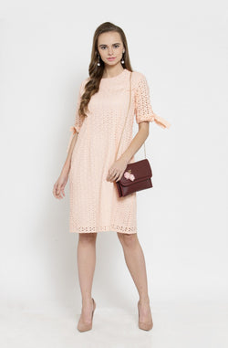 Schiffly Tie-Sleeve Dress by Afamado