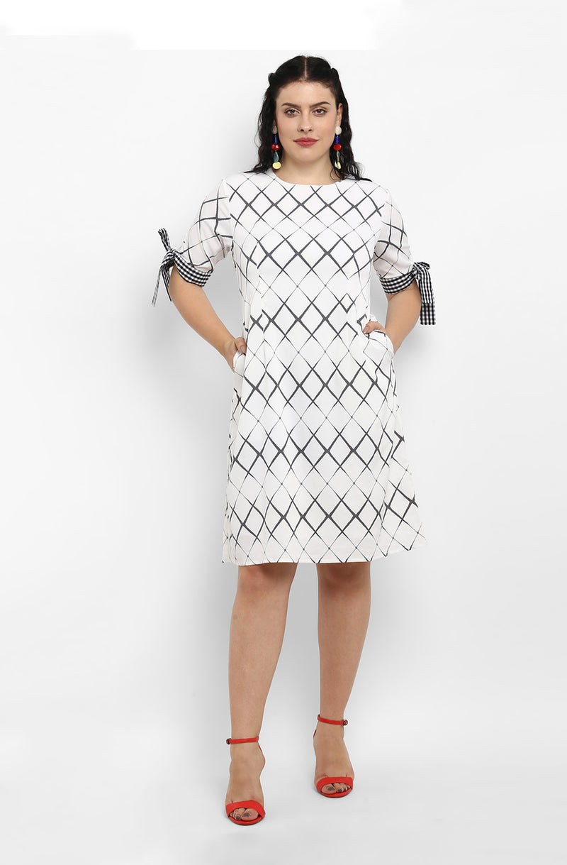 Casual Straight Fit Diagonal Check Dress by Afamado