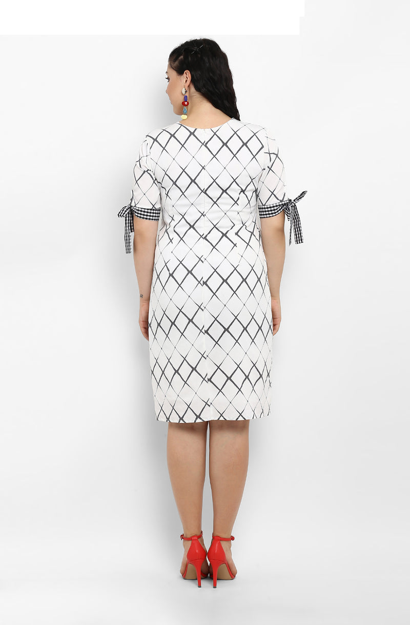 Casual Straight Fit Diagonal Check Dress