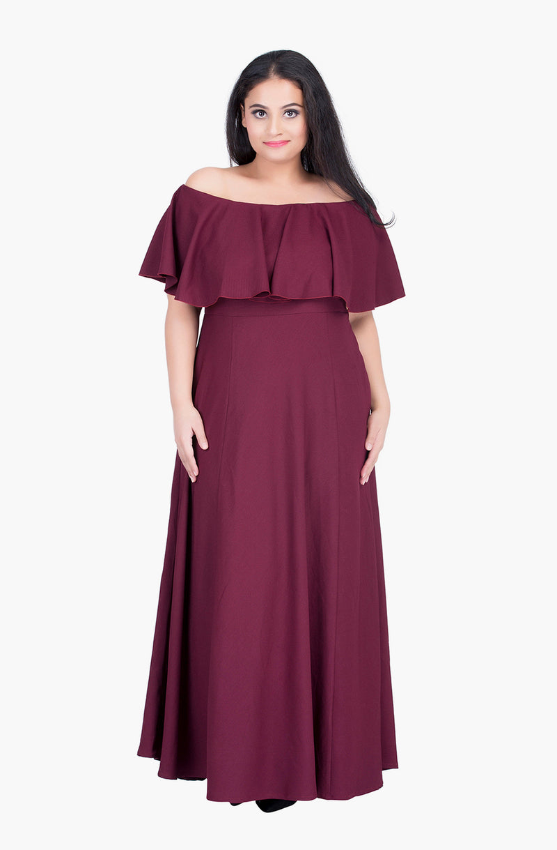 Ruffled Off-Shoulder Gown