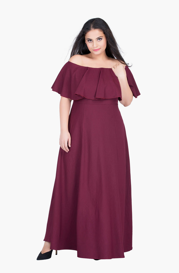 Ruffled Off-Shoulder Gown by Afamado