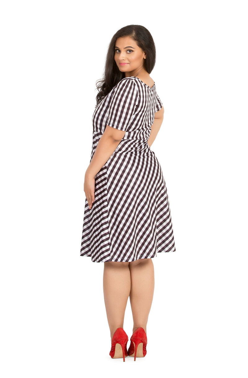 Gingham Keyhole Front Casual Dress