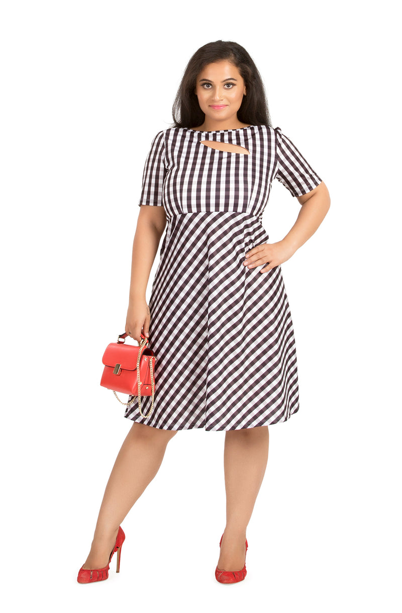 Gingham Keyhole Front Casual Dress by Afamado
