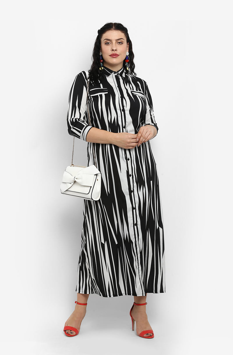 Abstract Print Maxi Shirt Dress by Afamado