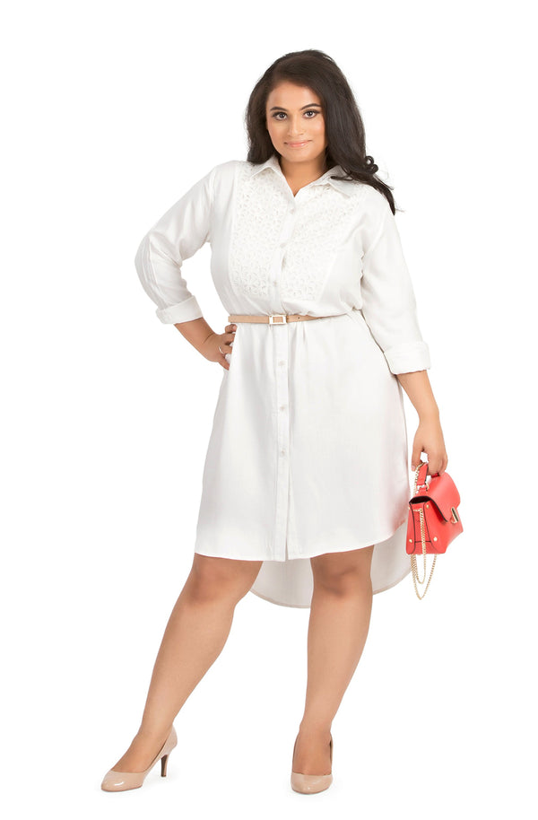 Yoke Shirt Dress by Afamado