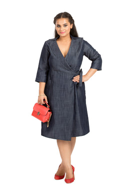 Chambray Overlap Dress  by Afamado
