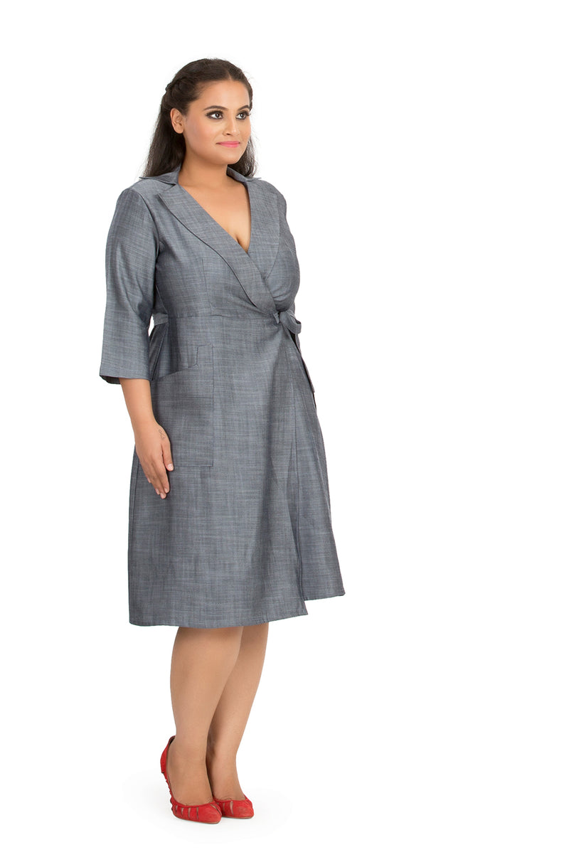Grey Wrap Tie-Waist Midi Dress