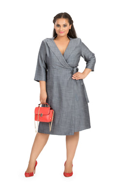 Grey Wrap Tie-Waist Midi Dress by Afamado