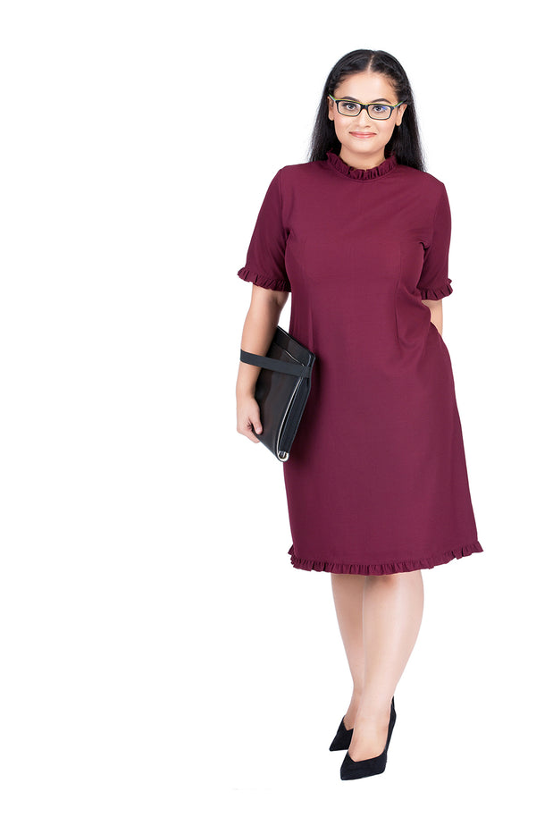 Straight-Fit Ruffle Collar Formal Dress