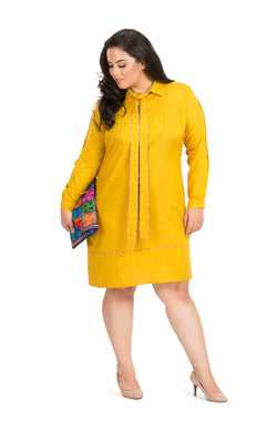 Bright Yellow Formal Full Sleeve Cotton Dress by Afamado