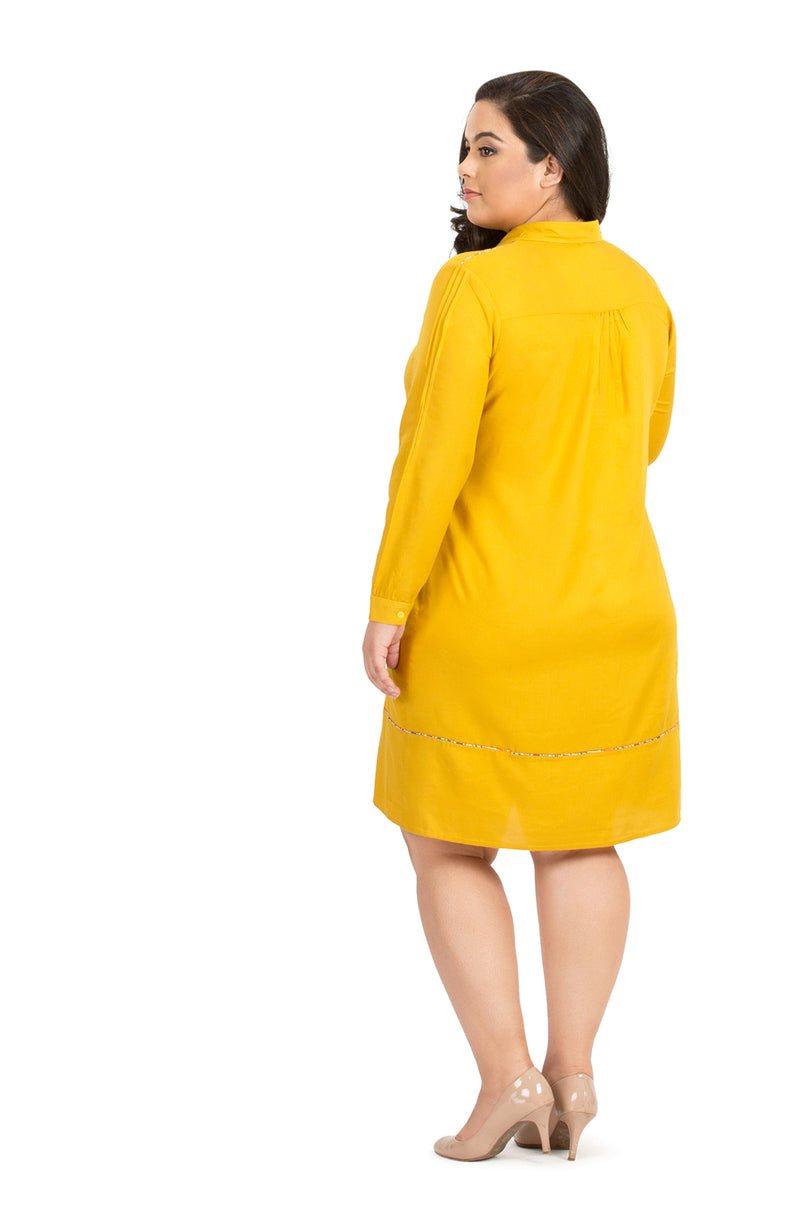 Bright Yellow Formal Full Sleeve Cotton Dress