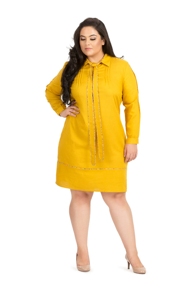 Bright Yellow Formal Full Sleeve Dress