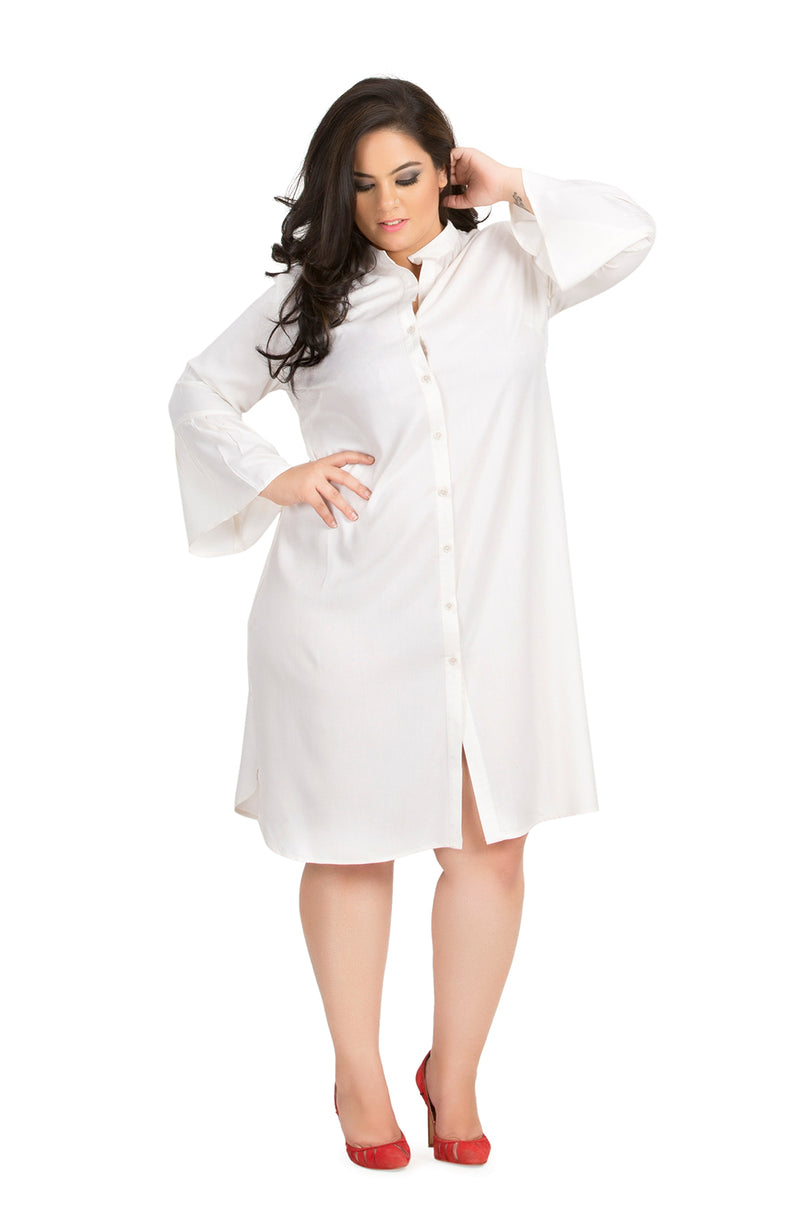 Mandarin Collar Shirt Dress by Afamado