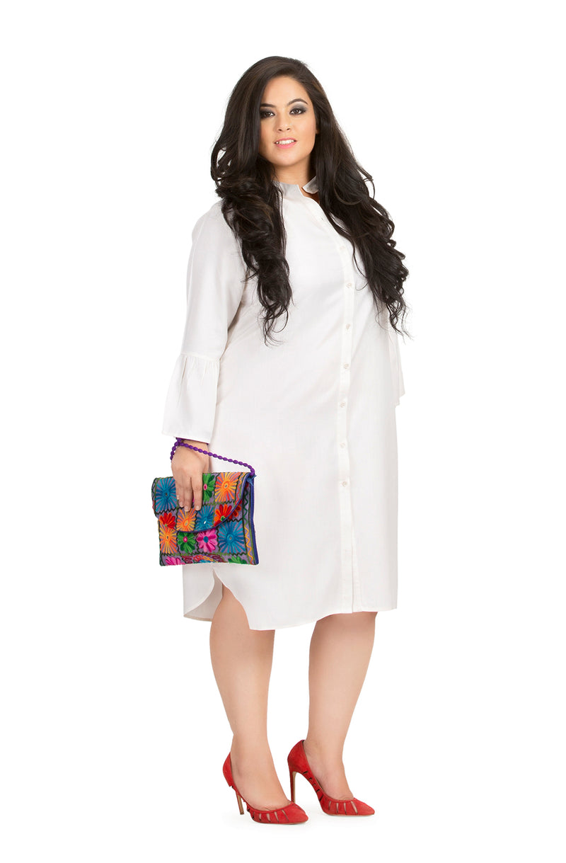 Mandarin Collar Shirt Dress