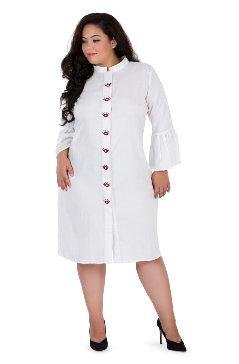 Embroidered Placket Shirt Dress