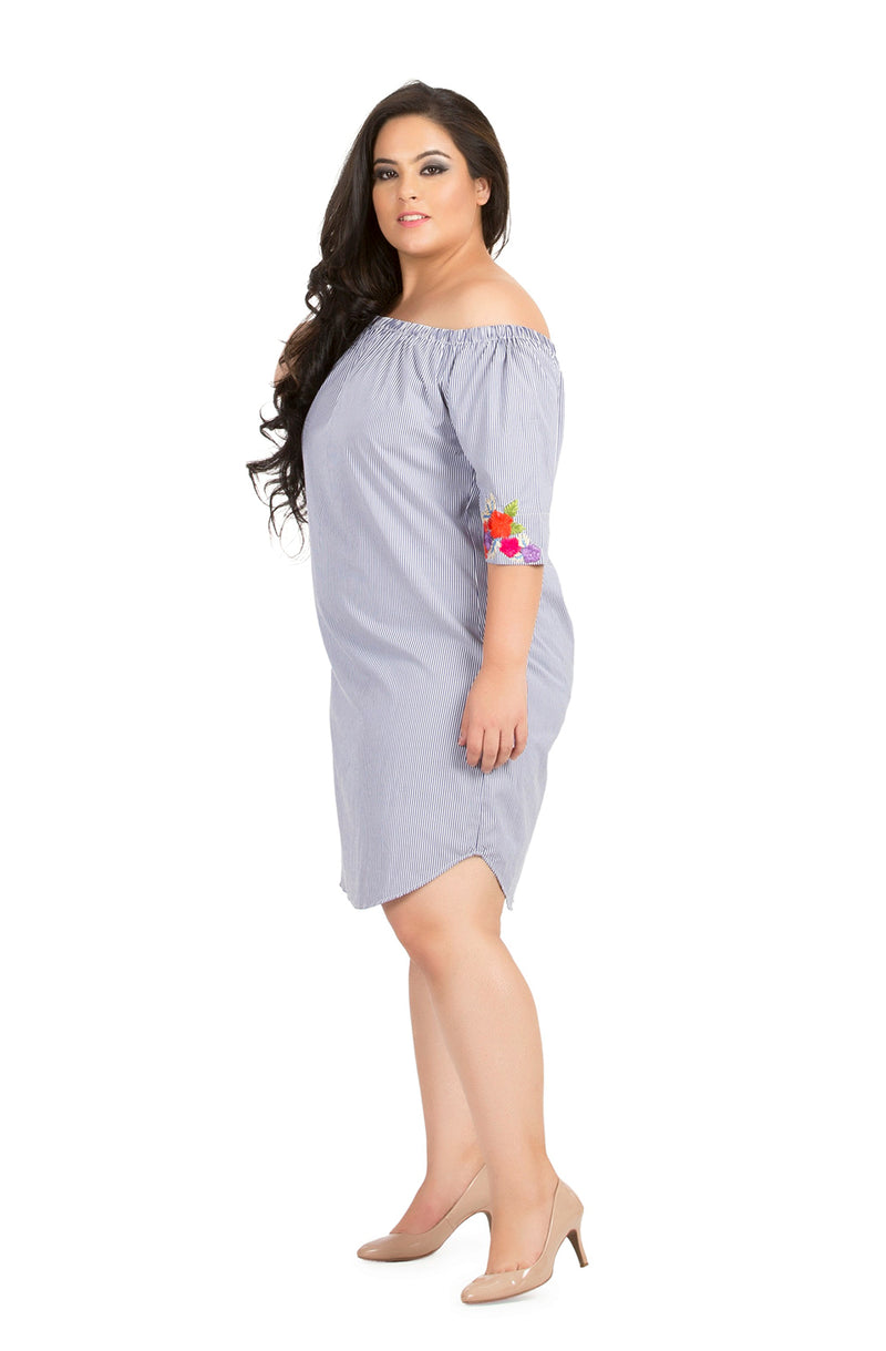 Embroidered Sleeve Straight Cut Dress