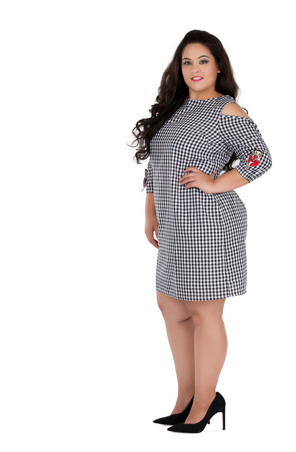 Patched Gingham Dress by Afamado