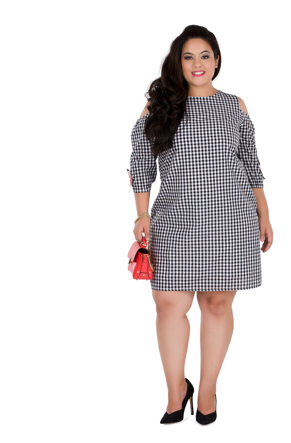 Patched Gingham Dress