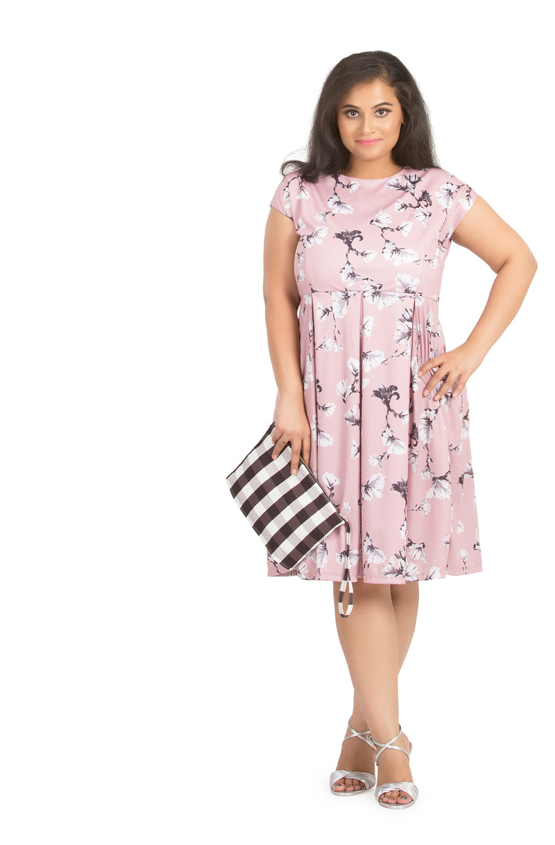 Spring Floral Pleated Dress by Afamado