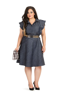 Grey Collared Fit & Flare Party Dress by Afamado