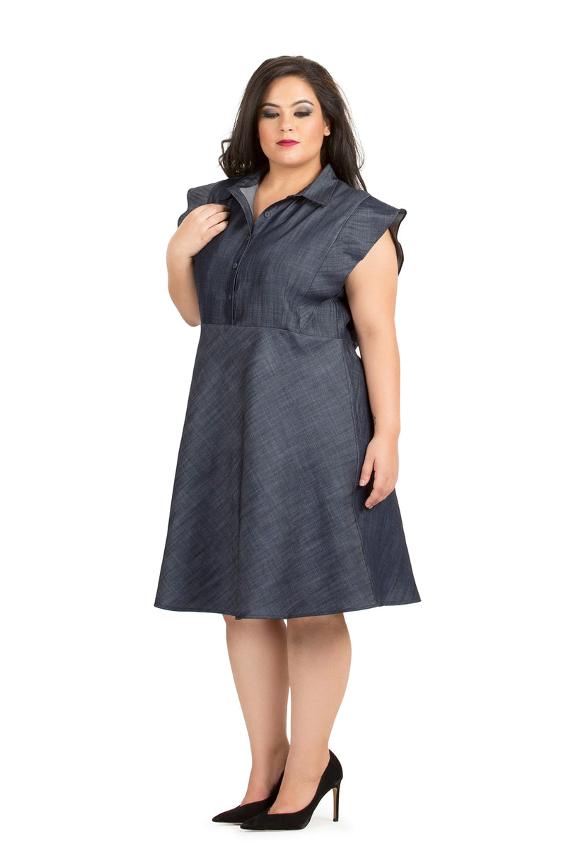 Grey Collared Fit & Flare Party Dress