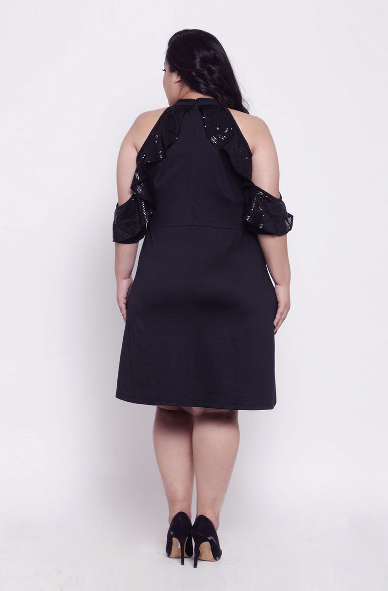 Black Frilled A-line Party Dress