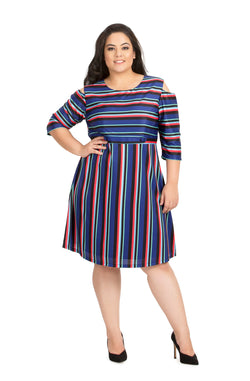 Multi-Colored Cold-Shoulder Casual Dress by Afamado