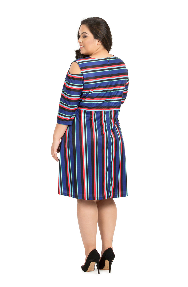 Multi-Colored Cold-Shoulder Casual Dress