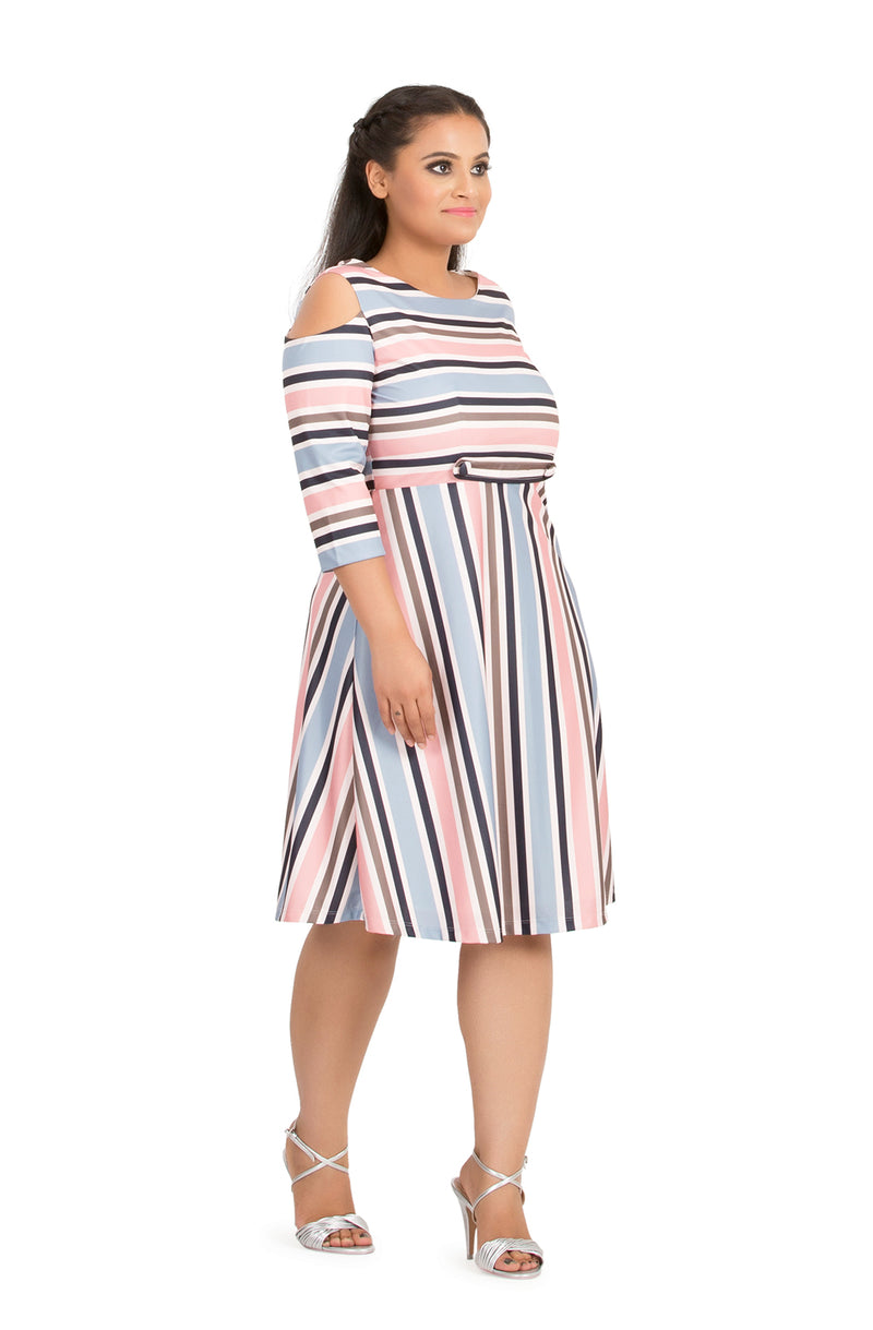 Pastel Stripe Cold-Shoulder Dress
