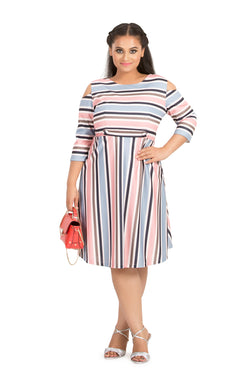 Pastel Stripe Cold-Shoulder Dress by Afamado