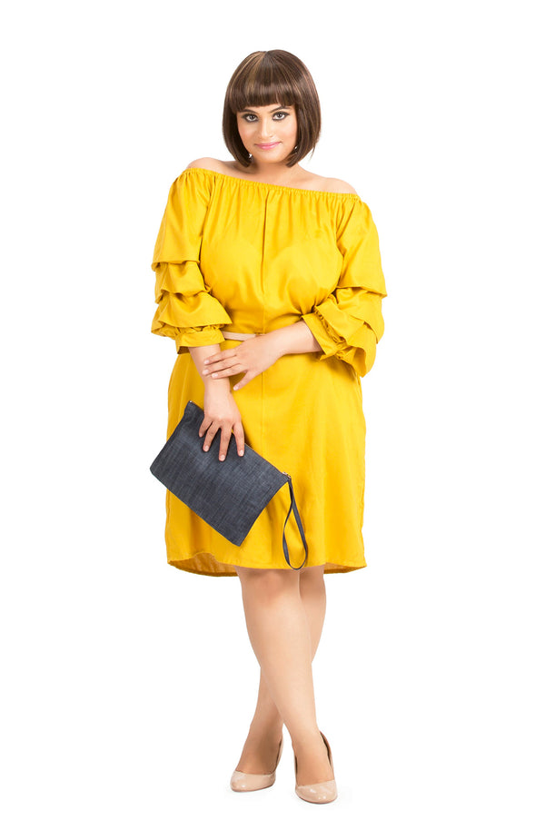 Off-Shoulder Layer Sleeve Dress by Afamado