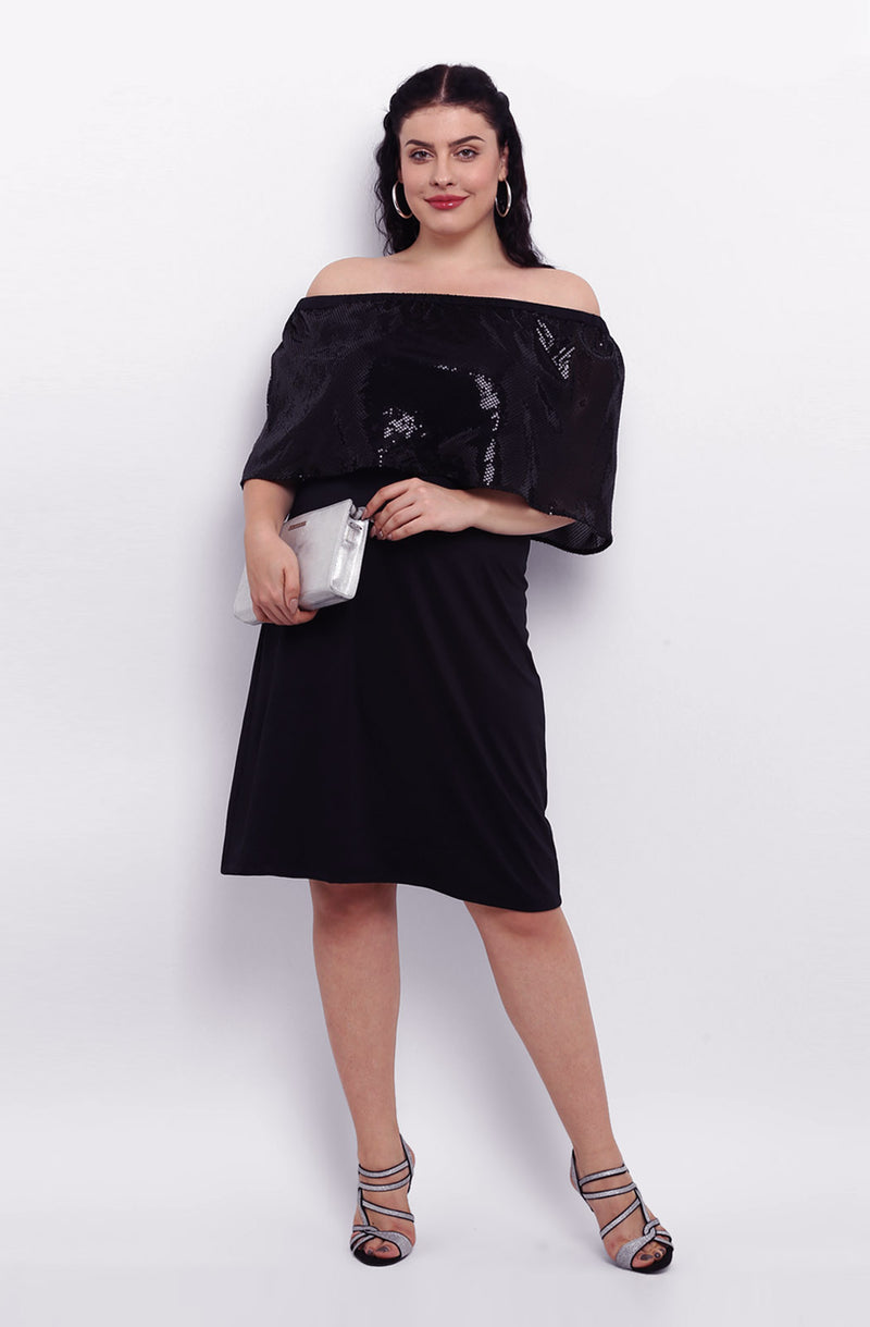 Black Off-Shoulder A-line Party Dress by Afamado