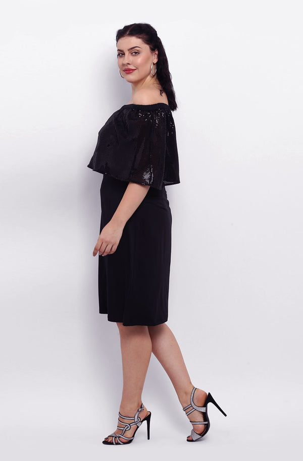 Black Off-Shoulder A-line Party Dress