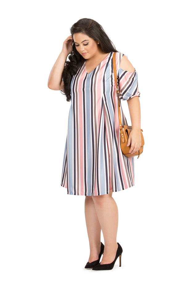 Summer Stripe Pleated Cold-Shoulder Dress by Afamado