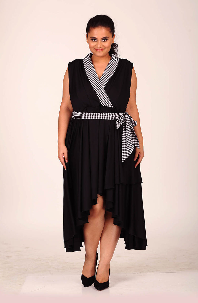 Gingham Check-Collar Black Dress