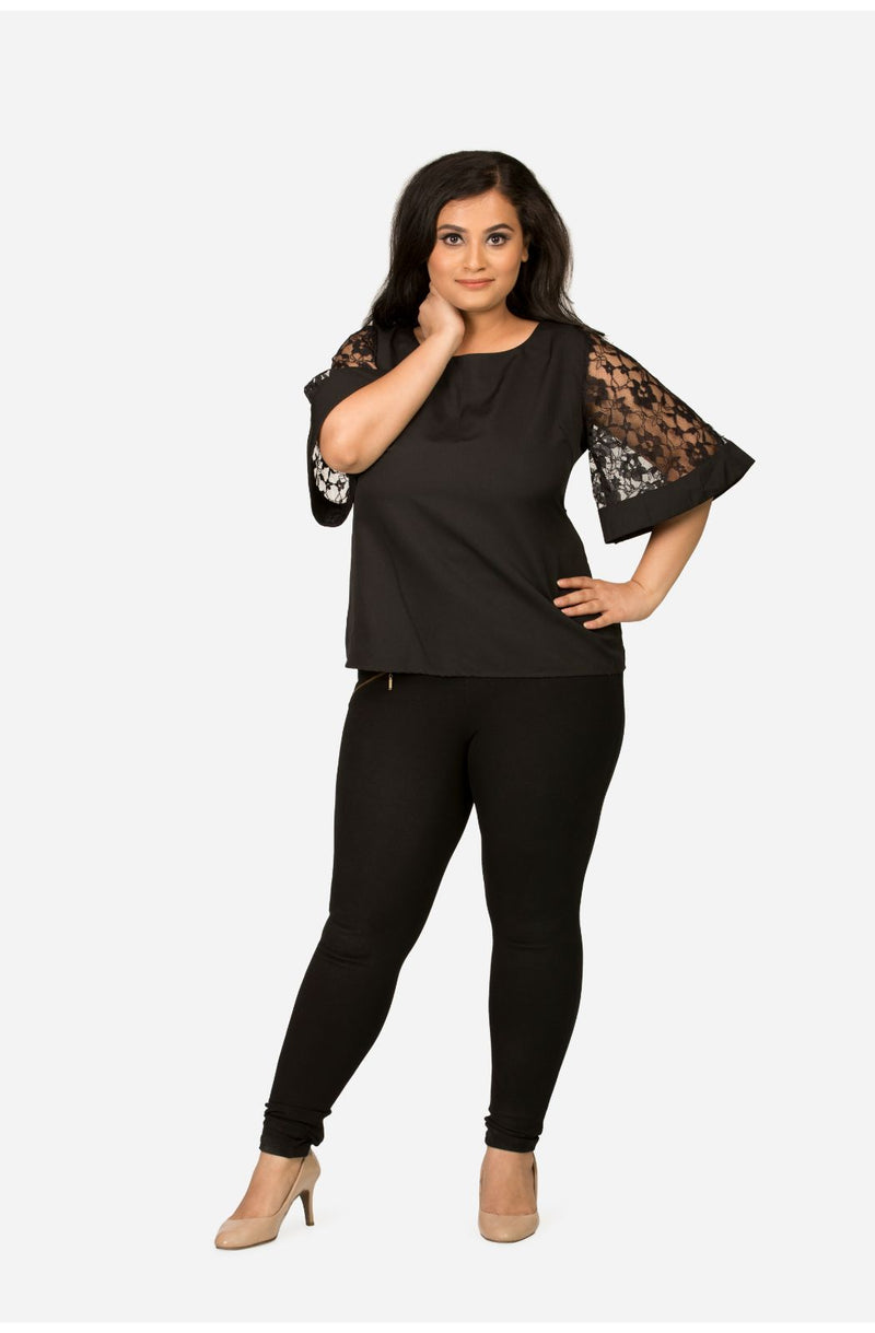 Black Lace Sleeve Top by Afamado