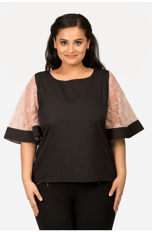 Black Top with Lace Sleeve by Afamado