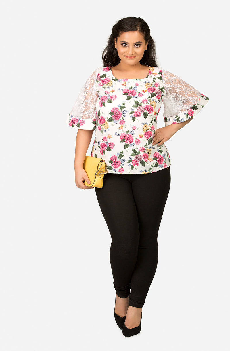 Floral Printed Top with Lace Sleeve