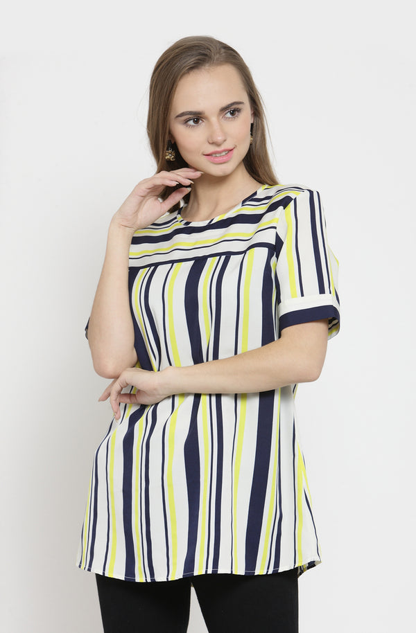 Formal Striped Short-Sleeve Multi-Striped Top