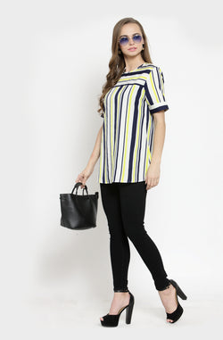 Formal Striped Short-Sleeve Multi-Striped Top  by Afamado