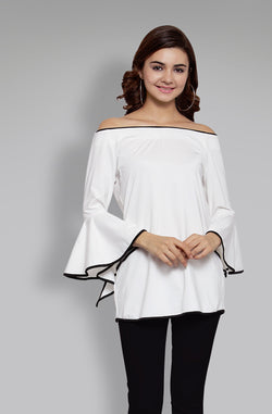 Off-Shoulder Bell Sleeve Top by Afamado