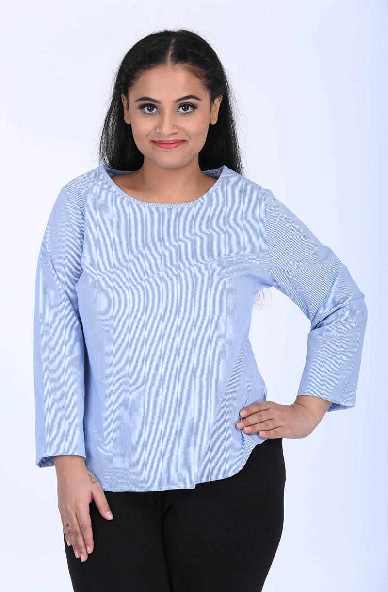 Round Neck Blue Relaxed Fit Top