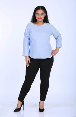 Round Neck Blue Relaxed Fit Top by Afamado