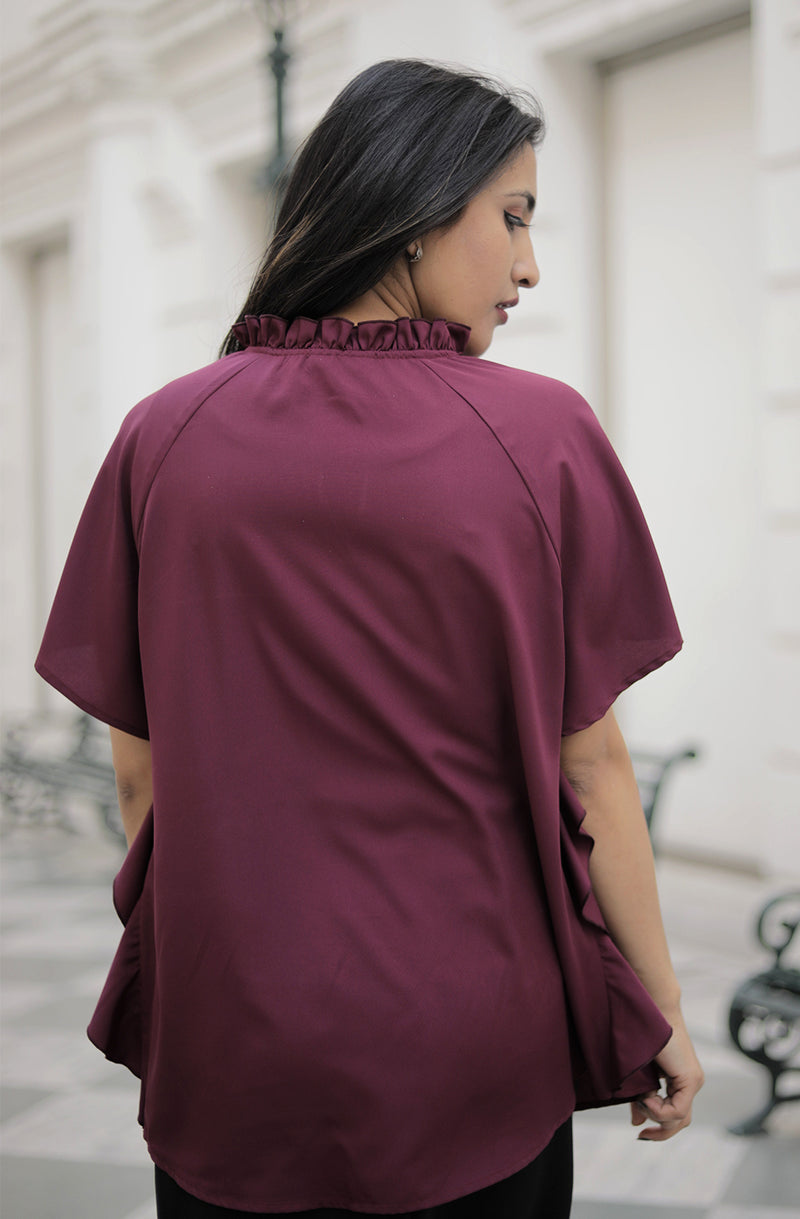 Solid Straight Burgundy Color Top